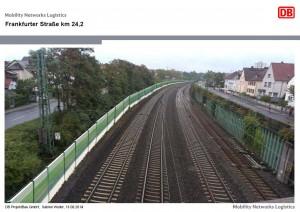 Simulation der Lärmschutzwände in Höhe Frankfurter Straße (Simulation: Bahn)